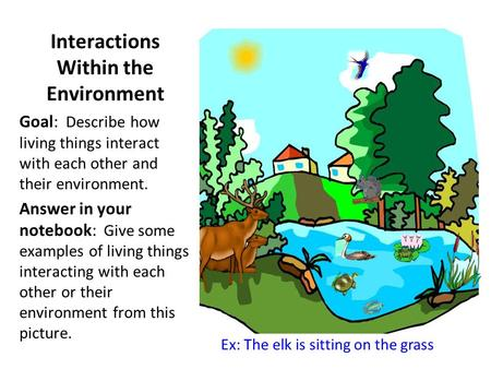 Interactions Within the Environment Goal: Describe how living things interact with each other and their environment. Answer in your notebook: Give some.