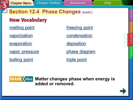 Section 12-4 Section 12.4 Phase Changes (cont.) melting point vaporization evaporation vapor pressure boiling point Matter changes phase when energy is.