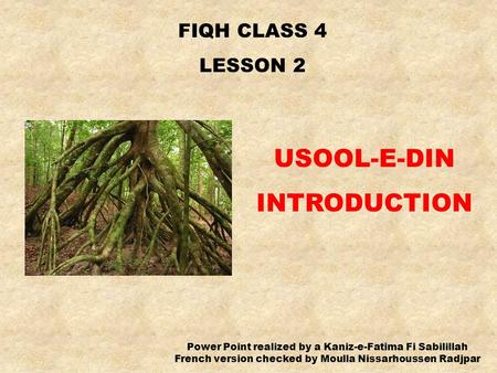 FIQH CLASS 4 LESSON 2 USOOL-E-DIN INTRODUCTION Power Point realized by a Kaniz-e-Fatima Fi Sabilillah French version checked by Moulla Nissarhoussen Radjpar.