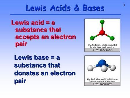 1 Lewis acid = a substance that accepts an electron pair Lewis Acids & Bases Lewis base = a substance that donates an electron pair.