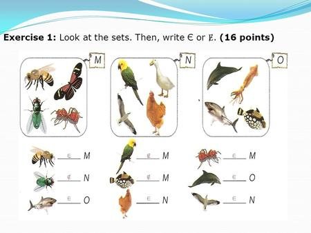 Exercise 1: Look at the sets. Then, write Є or. (16 points)