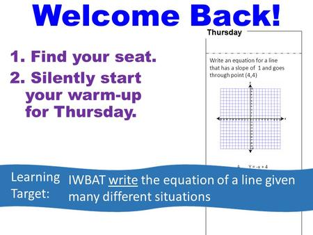 Thursday Write an equation for a line that has a slope of 1 and goes through point (4,4) A.Y = -x + 4 B.Y = x + 4 C.Y = x D.Y = -x 1. Find your seat. 2.