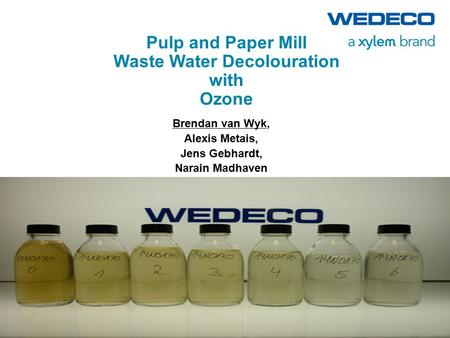 Pulp and Paper Mill Waste Water Decolouration with Ozone Brendan van Wyk, Alexis Metais, Jens Gebhardt, Narain Madhaven.