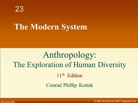McGraw-Hill © 2005 The McGraw-Hill Companies, Inc. 1 23 The Modern System Anthropology: The Exploration of Human Diversity 11 th Edition Conrad Phillip.