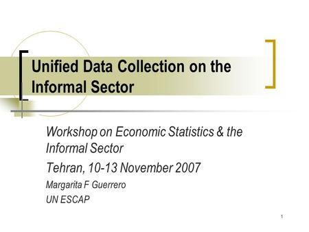 1 Unified Data Collection on the Informal Sector Workshop on Economic Statistics & the Informal Sector Tehran, 10-13 November 2007 Margarita F Guerrero.