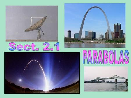 Parabolas show up in the architecture of bridges. The parabolic shape is used when constructing mirrors for huge telescopes, satellite dishes and highly.