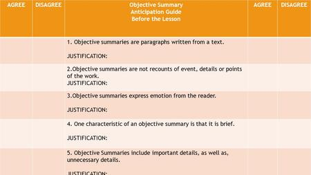 AGREEDISAGREEObjective Summary Anticipation Guide Before the Lesson AGREEDISAGREE 1. Objective summaries are paragraphs written from a text. JUSTIFICATION: