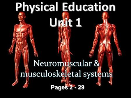 Neuromuscular & musculoskeletal systems Pages 2 - 29.