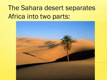 The Sahara desert separates Africa into two parts: