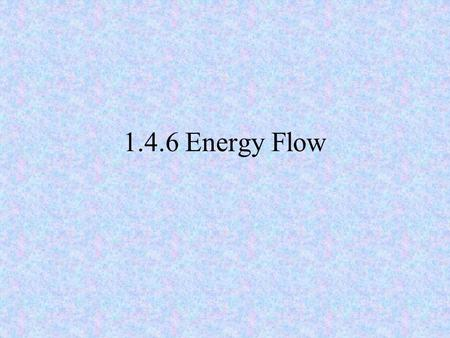 1.4.6 Energy Flow. 2 Need to know Name the sun as the primary source of energy. Name feeding as the pathway of energy flow. Present a grazing food chain.