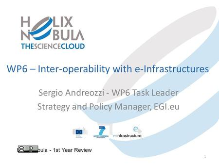 WP6 – Inter-operability with e-Infrastructures Sergio Andreozzi - WP6 Task Leader Strategy and Policy Manager, EGI.eu Helix Nebula - 1st Year Review 1.