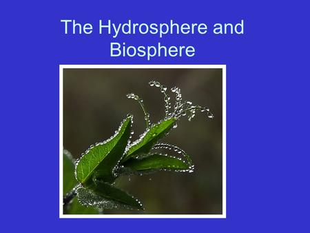 The Hydrosphere and Biosphere. Hydrosphere Include areas above, on, and below Earth's surface containing water. –Oceans –Rivers –Wetlands –Polar Icecaps.