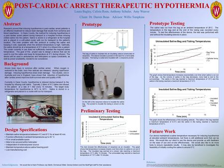 POST-CARDIAC ARREST THERAPEUTIC HYPOTHERMIA Laura Bagley, Calista Roen, Anthony Schuler, Amy Weaver Client: Dr. Darren Bean Advisor: Willis Tompkins References.