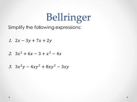 Bellringer. Properties of Real Numbers Properties There are several properties of real numbers that we use each day. They are: 1. Commutative 2. Associative.