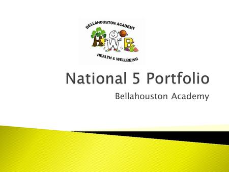 Bellahouston Academy.  Your Portfolio will be sent away to be marked by the SQA.  In your portfolio you will write about all of the different areas.