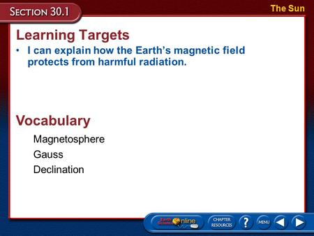Learning Targets I can explain how the Earth's magnetic field protects from harmful radiation. The Sun Vocabulary Magnetosphere Gauss Declination.