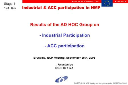 Industrial & ACC participation in NMP Stage-1 194 IPs DG RTD/G-1/IA NCP Meeting - Ad Hoc group's results 25.09.2003 - Slide 1 Results of the AD HOC Group.