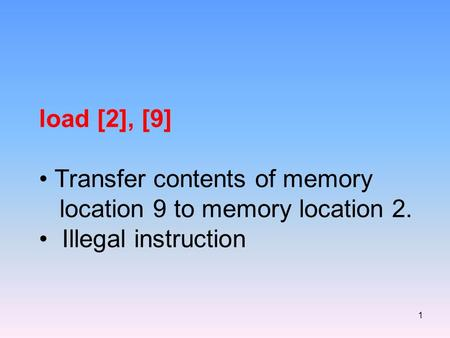 1 load [2], [9] Transfer contents of memory location 9 to memory location 2. Illegal instruction.