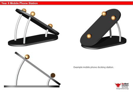 Year 9 Mobile Phone Station Design & Technology Example mobile phone docking station.
