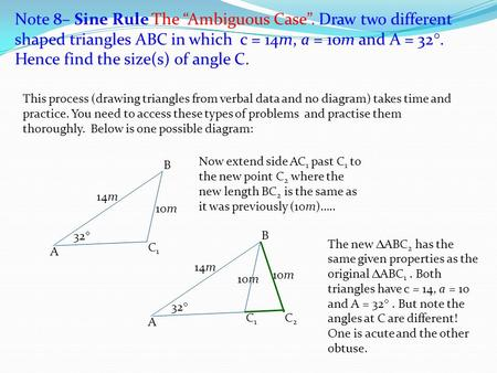 "Note 8– Sine Rule The ""Ambiguous Case"""
