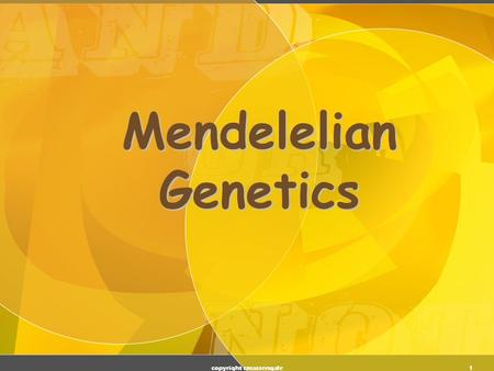 "1 Mendelelian Genetics copyright cmassengale 2 Gregor Mendel (1822-1884) Responsible for the Laws governing Inheritance of Traits Called the ""Father."