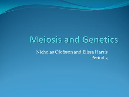Nicholas Olofsson and Elissa Harris Period 3. Meiosis Process that converts diploid nuclei into haploid nuclei Occurs in the sex organs-testes and ovaries.
