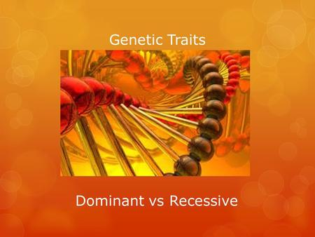 Genetic Traits Dominant vs Recessive. Dominant vs Recessive Traits  Discuss with you shoulder partner what you think dominant and recessive traits are.