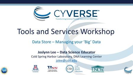 Transforming Science Through Data-driven Discovery Tools and Services Workshop Data Store – Managing your 'Big' Data Joslynn Lee – Data Science Educator.