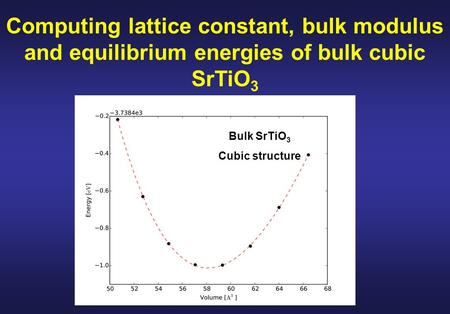 Computing lattice constant, bulk modulus and equilibrium energies of bulk cubic SrTiO 3 Bulk SrTiO 3 Cubic structure.