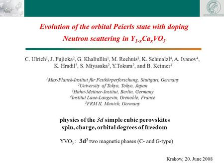 Physics of the 3d simple cubic perovskites spin, charge, orbital degrees of freedom Evolution of the orbital Peierls state with doping Neutron scattering.