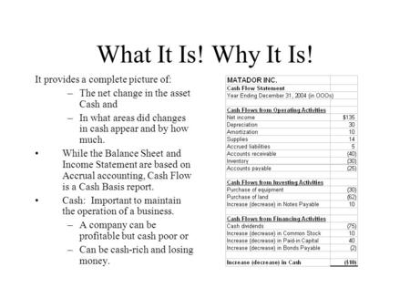 What It Is! Why It Is! It provides a complete picture of: –The net change in the asset Cash and –In what areas did changes in cash appear and by how much.