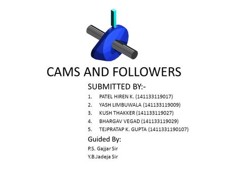 CAMS AND FOLLOWERS SUBMITTED BY:- 1.PATEL HIREN K. (141133119017) 2.YASH LIMBUWALA (141133119009) 3.KUSH THAKKER (141133119027) 4.BHARGAV VEGAD (141133119029)