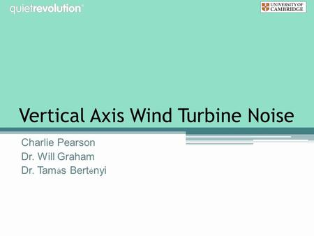 Vertical Axis Wind Turbine Noise