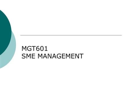 MGT601 SME MANAGEMENT. Lesson 22 Guide Lines for Approaching Lenders – III.