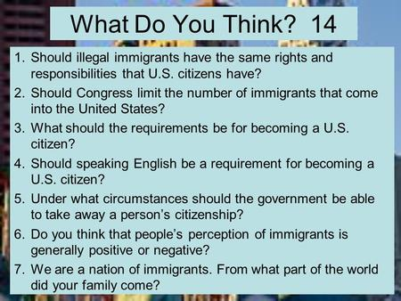 should illegal immigrants have same rights as us citizens Definition for purposes of the immigration and nationality act (ina), any person who is not a citizen or a national of the united states there are different categories of aliens: resident and nonresident, immigrant and nonimmigrant, asylee and refugee, documented and undocumented (illegal.