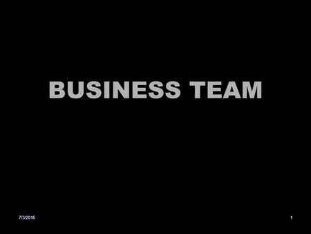 BUSINESS TEAM 7/3/20161. Basics of Team Building Team Building is the process of collective performance A team comprises two or more people with shared.