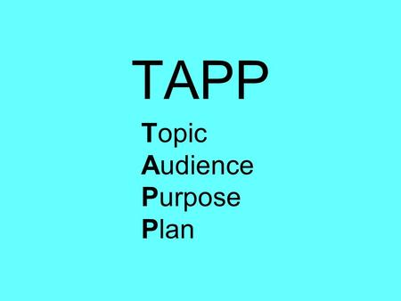 TAPP Topic Audience Purpose Plan. Topic (The Main Idea) Sports Friends School Pets.