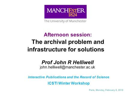 Afternoon session: The archival problem and infrastructure for solutions Prof John R Helliwell Interactive Publications.