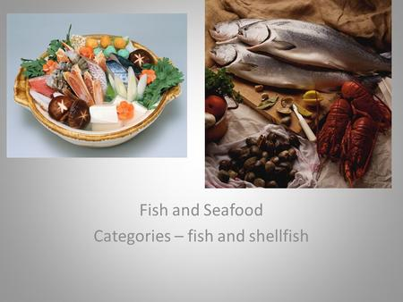 Fish and Seafood Categories – fish and shellfish.
