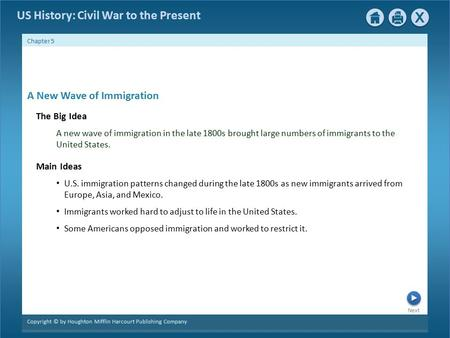 Next Copyright © by Houghton Mifflin Harcourt Publishing Company Chapter 5 US History: Civil War to the Present A New Wave of Immigration The Big Idea.