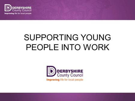 SUPPORTING YOUNG PEOPLE INTO WORK. What we are doing…. The Council's vision is for Derbyshire to prosper, based on a strong economy, well connected communities.
