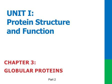 UNIT I: Protein Structure and Function CHAPTER 3: GLOBULAR PROTEINS Part 2.