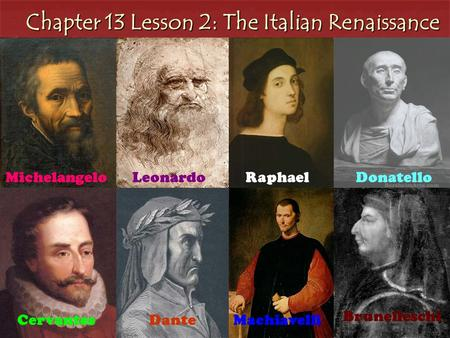 Chapter 13 Lesson 2: The Italian Renaissance MichelangeloLeonardoRaphael Filippo Brunelleschi MachiavelliDanteCervantes Donatello Brunelleschi.
