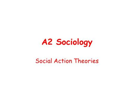 Social Action Theories