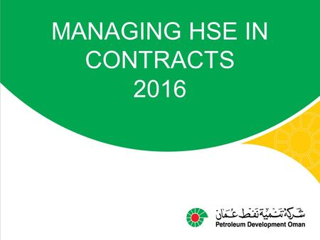 MANAGING HSE IN CONTRACTS 2016
