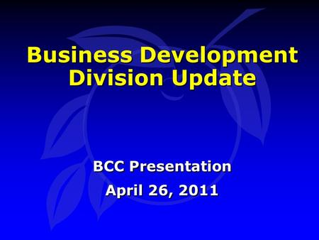 Business Development Division Update BCC Presentation April 26, 2011 BCC Presentation April 26, 2011.