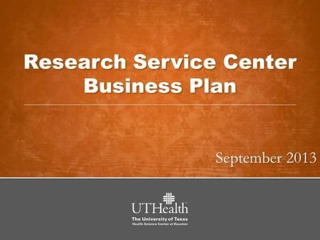 Research Service Center Business Plan September 2013.