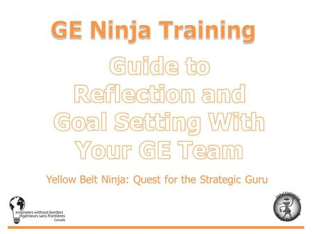 Yellow Belt Ninja: Quest for the Strategic Guru. This is the framework used for the reflection and goal setting journey of the GE Ninjas and their teams.