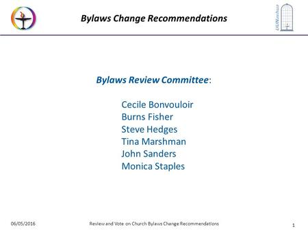 1 UUNashua Bylaws Change Recommendations 06/05/2016Review and Vote on Church Bylaws Change Recommendations Bylaws Review Committee: Cecile Bonvouloir Burns.