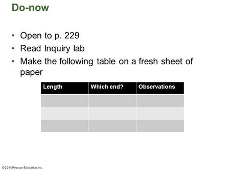 Do-now Open to p. 229 Read Inquiry lab Make the following table on a fresh sheet of paper © 2014 Pearson Education, Inc. LengthWhich end?Observations.